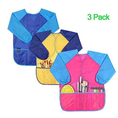 Homemade Costumes For Tweens (KateDy 3 Pack Kids Art Smocks,Waterproof Children Painting Aprons Overall Long Sleeve with 3 Roomy Pockets for Ages 2-9,Easy-to-Clean,Painting Supplies for Art,Crafts,Cooking,Lab Activity)