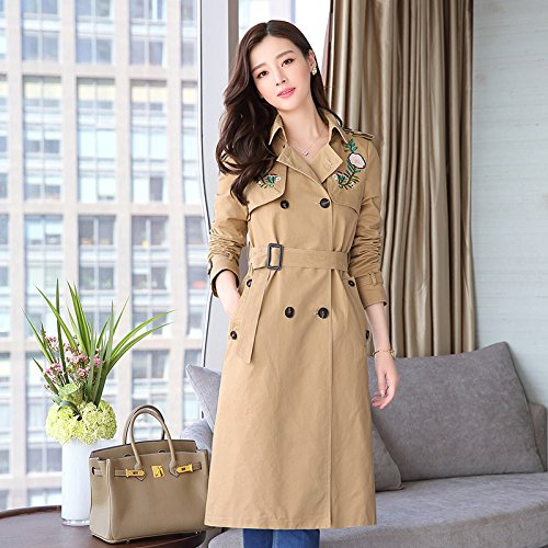 Jackets Female Khaki Windbreaker SCOATWWH Embroidery Women'S Long Jacket amp; Strap Coats Coats Women'S wPdxR