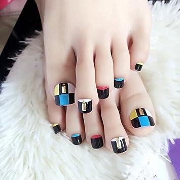 echiq 24pcs pre-diseñadas falsa uñas de los pies Red Rivet Decoración Uñas Postizas Para Dedos Manicura Consejos: Amazon.es: Belleza