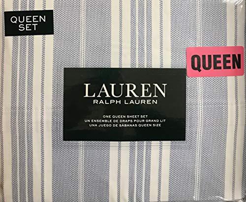 Ralph Lauren 4 Piece Queen Sheet Set Slate Blue Grey Chevron Stripes on Off White Background