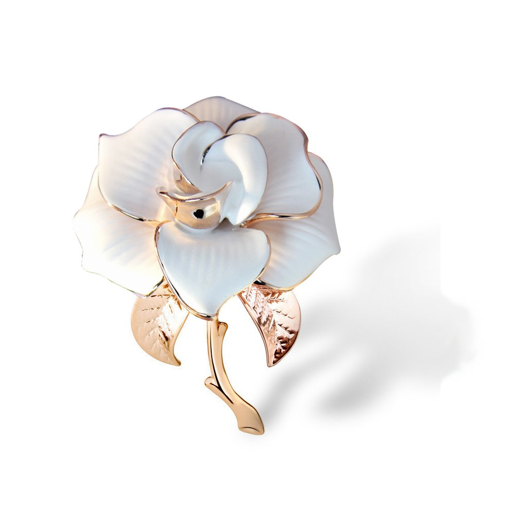 METTU Rose Gold Flower Brooch Black and White Rose Petals Brooches & Pins for Women