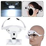 Headband Headset Magnifier, 5 Different Lenses Adjustable Loupe Visor Free Eyeglasses Bracket Interchangeable 2 LED Lights For Eye Lashes Extensions Tool