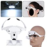tiny craft brackets - Headband Headset Magnifier, 5 Different Lenses Adjustable Loupe Visor Free Eyeglasses Bracket Interchangeable 2 LED Lights For Eye Lashes Extensions Tool