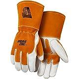 Steiner 0216-X MegaMIG Premium Grain Cowhide with Split Cowhide Back MIG Welding Gloves with Reinforcements, Tan/Rust, X-Large