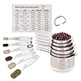Stainless Steel Metal Measuring Cups and Spoons by Cooking Gods with Bonus Magnetic Chart. 12 Piece Stackable Metric Cup and Spoon Set with Engraved Measurements to Measure Dry and Liquid Ingredients