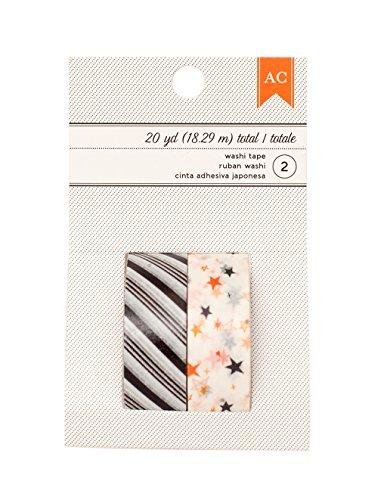 American Crafts Halloween Stripe & Stars Washi Tape, 20 yd, Black by American Crafts (Image #1)