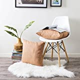 Kevin Textile Faux Suede Square Home Decorative Throw Pillow Case Cushion Cover with Hidden Zipper for Chair/Sofa, 18'' X 18''(45x45cm), 2 Pieces, Butterum Brown