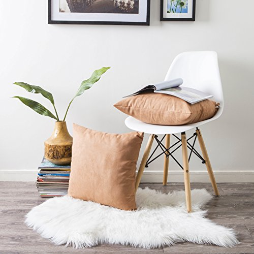 Kevin Textile Faux Suede Square Home Decorative Throw Pillow Case Cushion Cover with Hidden Zipper for Chair/Sofa, 18