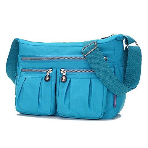 MeCooler Bolso Bandolera Mujer Impermeable Bolsos de Moda Casual Bolsos Escuela Ligero Bolsas de Viaje para Tablet Escolares Bolsas de Deporte Azul 3