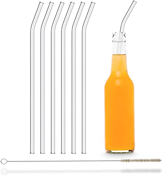 HÅLM Pajitas de Cristal Reutilizables – 6 Unidades curvadas 30 cm ...