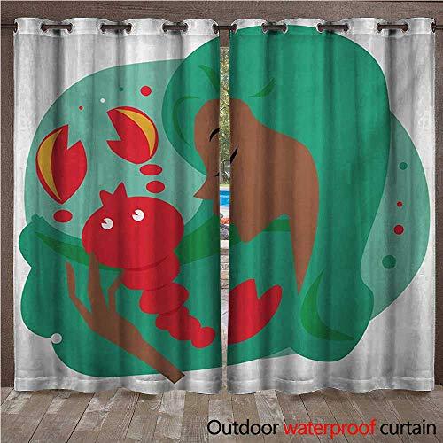 WilliamsDecor Zodiac Scorpio Outdoor Balcony Privacy Curtain Colorful Portrait of a Woman Holding a Scorpion Cartoon Doodle Illustration W96 x L96(245cm x 245cm) for $<!--$79.60-->