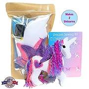 Wildflower Toys Unicorn Sewing Kit for Girls - Felt Craft Kit for Beginners Ages 7+ - Makes 2 Glitter White Felt Stuffed Unicorns
