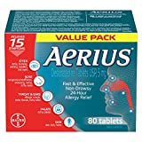 Aerius Allergy Medicine, Fast Relief, 24-Hour, Non-Drowsy, 15 Symptoms, 80 Tablets