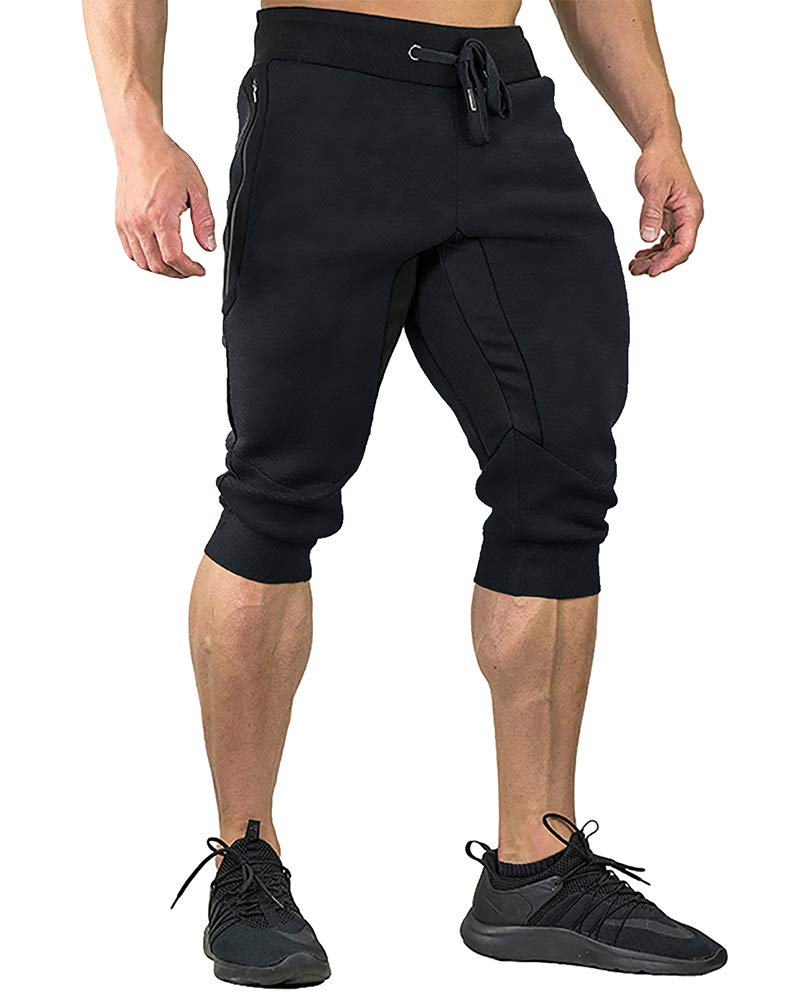 FASKUNOIE Men's Three-Quarter Capri Pants 3/4 Workout Training Jogger Short Pants Zipper Pockets Black(mesh)