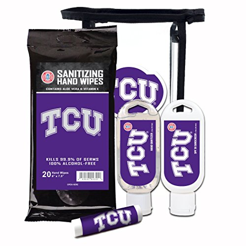 Worthy Promotional NCAA Tcu Horned Frogs 4-Piece Premium Gift Set with SPF 15 Lip Balm, Sanitizer, Wipes, Sunscreen