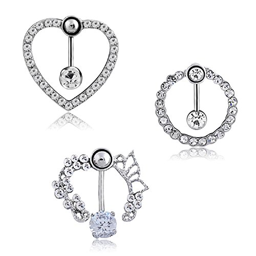 ly Button Rings Heart Circle Shaped for Women Girl Sexy Surgical Steel 3 Style (set) (Heart Shaped Belly Navel Ring)