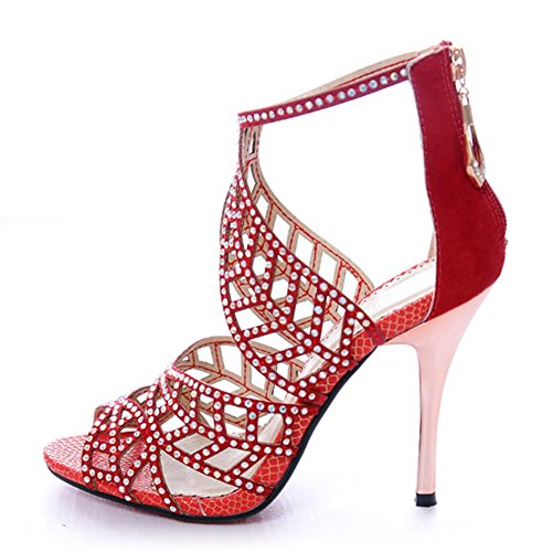 Crystal Studs High Heel Sandals Peep Toe Strappy Sandals Party Pumps Evening Dress Shoe Red uq5H6wj8G6
