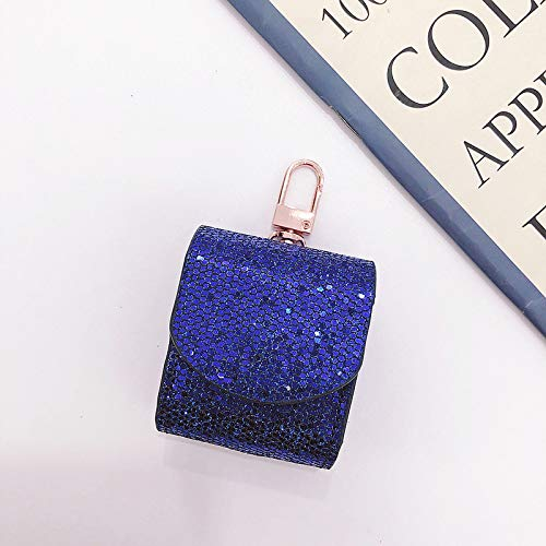 Omio for AirPods Glitter Case Cover Skin PU Leather Headphones Shockproof Protective Hang Case with Metal Clasp Hook Keychain Portable Anti Lost Bling Sparkle Soft Shell for AirPods Charging ()