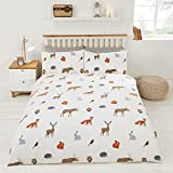 WOODLAND ANIMALS OWLS FOXES WHITE COTTON BLEND CANADIAN QUEEN SIZE (COMFORTER COVER 230 X 220 - UK KING SIZE) (PLAIN CREAM FITTED SHEET - 152 X 200CM + 25 - UK KING SIZE) 4 PIECE BEDDING SET