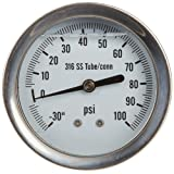 "PIC Gauge 312L-254CE-SIL Stainless Steel Case Silicone Filled 1/4 Lower Back Mount Pressure Gauge 316SS Internals Welded Connection 2.5"" Dial Size 30/0/100 psi Range"""