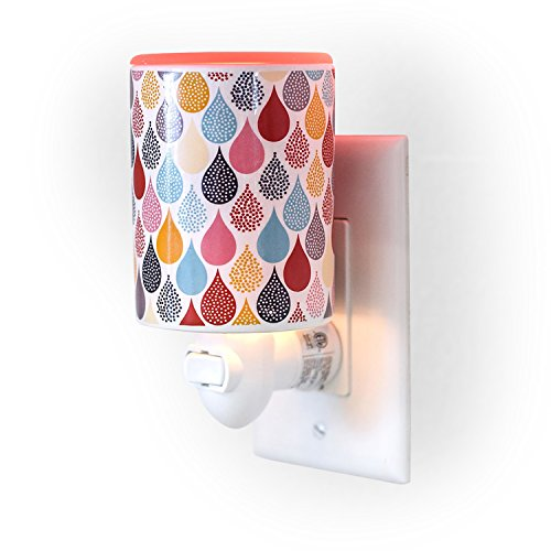 Happy Wax Outlet Wax Melt Warmer for Wax Melts, Tarts & Cubes - Ceramic Wax Melter with Patent Pending No Mess Silicone Top [Teardrop Print]