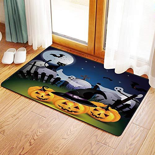 Funny Halloween Pumpkin Designs (Non-Slip Mat Microfiber Bathroom Rug Shower Mat, Halloween,Funny Cartoon Design Pumpkins Witches Hat Ghosts Gra, Ultra Soft and Water Absorbent Bath Rug,Machine Wash/Dry 20x 31)