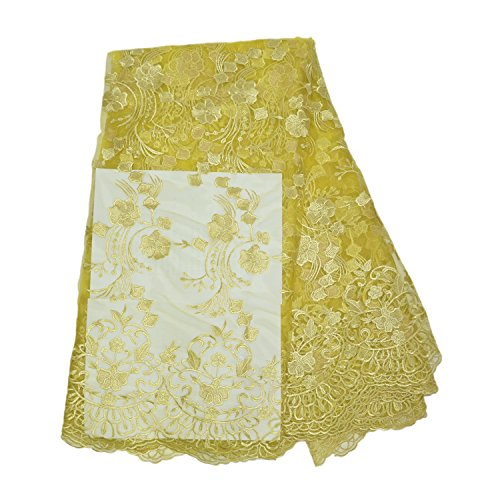 (KENLACE 5yards/lot Nigerian French Lace African Lace Fabric for Wedding Party Dress Africa Lace Fabric (Gold))