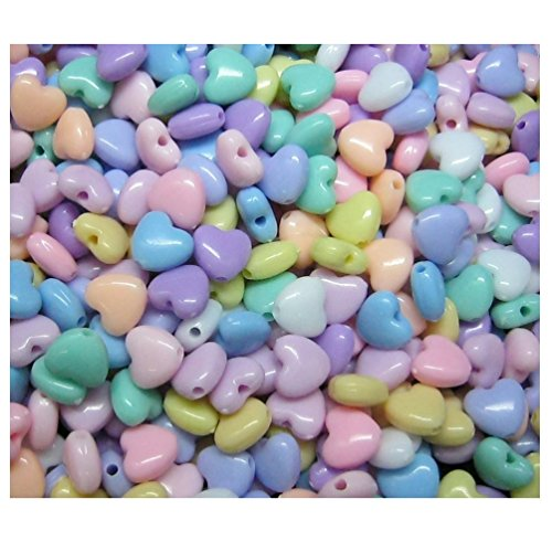 Lot of 150pcs Acrylic Heart Beads 9 mm Assorted Candy Color Mix Plastic Pastel Beads Bracelet Kawaii Rainbow Necklace Jewelry Making Craft Kits Kids diy