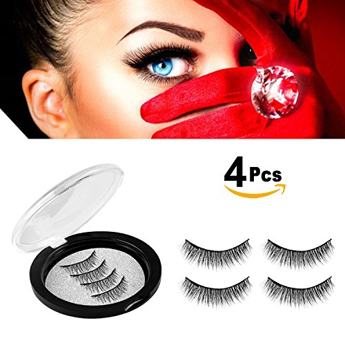 Magnetic Eyelashes No Glue-Reusable False Eyelashes Set for Natural Look,3D Reusable Full Eye Fake Lashes Extensions By Verfanny- Thick Soft & Handmade Seconds to Apply (1 Pair 4 Pcs) - False Eyelashes Reusable Natural