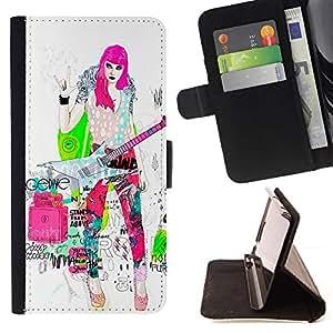 Punk Chick Girl Pink Hair Guitar Music - Modelo colorido cuero de la carpeta del tirón del caso cubierta piel Holster Funda protecció Para Apple (5.5 inches!!!) iPhone 6+ Plus / 6S+ Plus