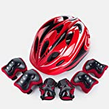 Protective Gear CJC Child Adjustable Helmet Bicycle Skateboard Roller Skates Balance Car Movement Knee Pads Helmet (Color : 1)