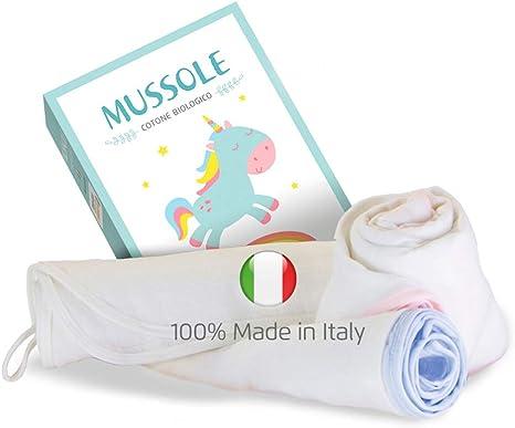 Muselina Bebe, Six4Up, 100% Made In Italy, Algodón Orgánico, Bordado Rosa, 2 Unidades, 70x90 cm, Certificadas Standard 100 Oeko-Tex, Swaddle, Mantas Bebe: Amazon.es: Hogar
