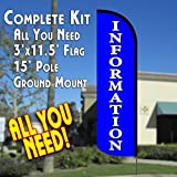 INFORMATION Windless Feather Banner Flag Kit (Flag, Pole, & Ground Mt)
