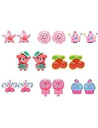 8 Pairs Animal Flower Princess Clip On Earrings Set for Kids Toddler Little Girls