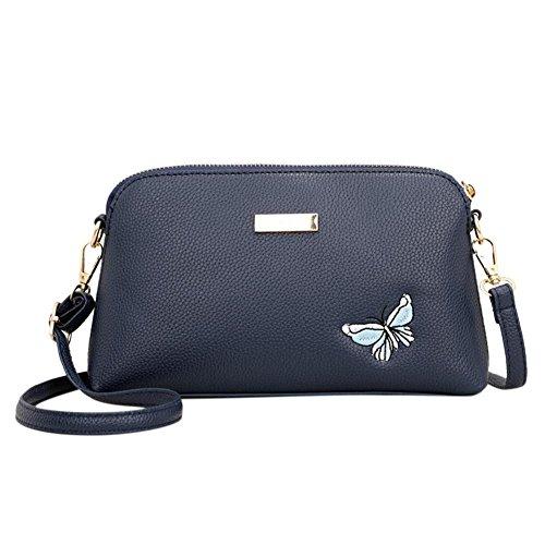 La Cabina Crossbody Bag Fille PU Sacs Sac Shell Petite Sacs foncé Messenger à bleu à Femmes Casual Broderie Main Bandoulière qrTnxdgWq