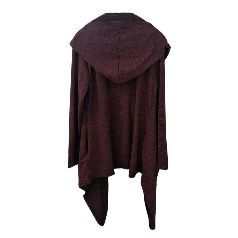 FeiBeauty Mens Oversized Hoodie Cardigans Gothic Steampunk Casual Irregular Hem Open-Front Long Sleeve Sweatshirt Cardigan Jackets with Pockets