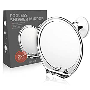miusco fogless shower mirror with built in razor holder flexible rotation arm and. Black Bedroom Furniture Sets. Home Design Ideas