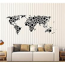 Vinyl Wall Decal Earth World Map Funny Art Decor Bubble Circles Stickers Large Decor (1345ig) Dark Blue