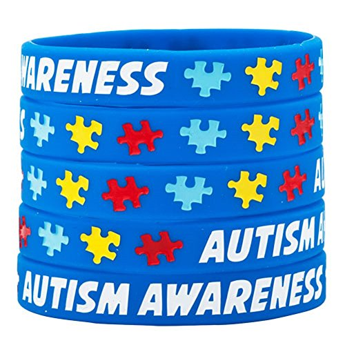 (Heart of Charms Set 5 I Have Autism Awareness Bracelets Silicone Sports Wristband Puzzle Pieces Bracelet)