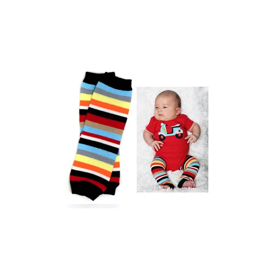 juDanzy newborn red, blue, black, white, yellow, orange, gray, stripe baby boy leg warmers   up to 15 pounds