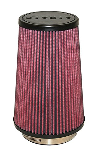 Airaid 700-471 Universal Clamp-On Air Filter: Round Tapered; 4 in (102 mm) Flange ID; 9 in (229 mm) Height; 6 in (152 mm) Base; 4.625 in (117 mm) Top