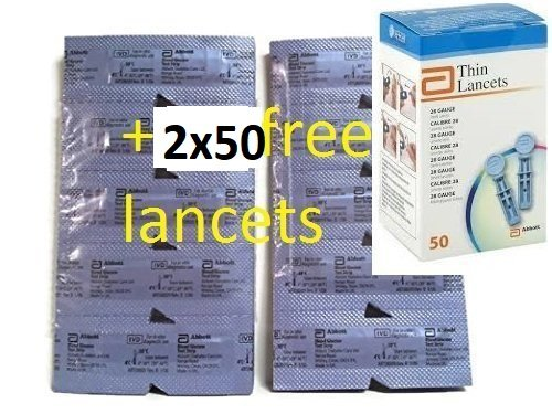 Precision Xtra Blood Glucose 100ct Test Strip +10ct free+ 100 FREE LANCETS