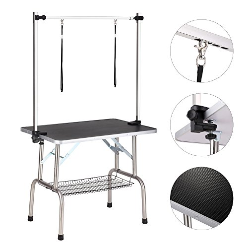 "Haige Pet Dog Grooming Table, Adjustable Clamp Overhead Pet Grooming Arm with Double Grooming Loop (36"" by 24"") Black"