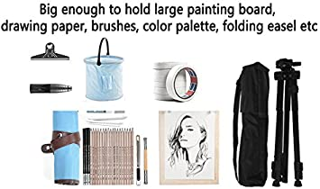 Fanchuang Canvas Art Supply Portfolio Backpack Carry for Sketch Board Easel Palette Brushes Storage,19.29x4.52x25.19 inches Gray