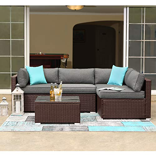 COSIEST 5-Piece Outdoor Patio Furniture Chocolate Brown Wicker Executive Sectional Sofa w Dark Grey Thick Cushions, Glass-Top Coffee Table, 2 Turquoise Pillows Incl. Waterproof Cover, Clips (Furniture Patio Sectional)