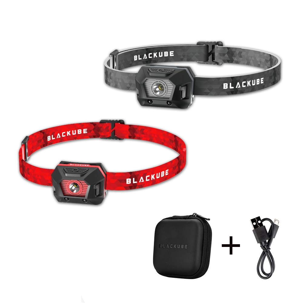 Blackube USB Rechargeable LED 180 Lumen Headlamp Flashlight-Lightweigt 27g /0.95oz - 2.5 Hours Charging time & 6 Modes Perfect for Running, Hikinng(2 Pack by Blackube