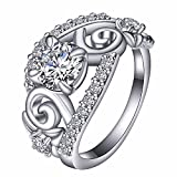(US) Platinum-Plated Sterling Silver Cubic Zirconia Round Cut Wedding Rings for Women Size 7