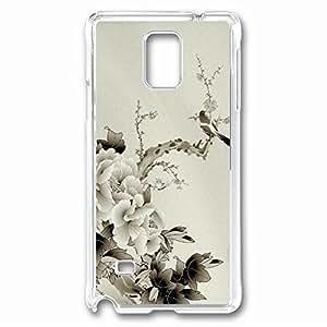 Design Flower Custom Back Phone Case for Samsung Galaxy Note 4 PC Material Transparent -1210187 hjbrhga1544