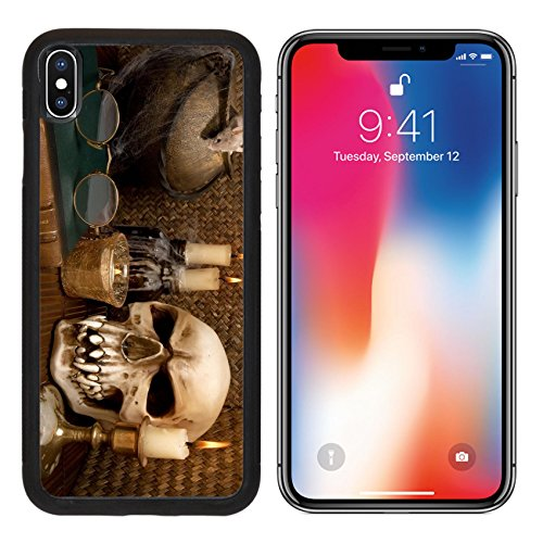 MSD Premium Apple iPhone X Aluminum Backplate Bumper Snap Case IMAGE ID: 5535637 One little mouse in a halloween scene