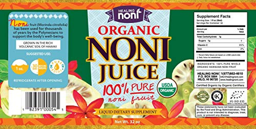Certified Organic Hawaiian Noni Juice - 2 X 32 Ounce by Healing Noni (Image #1)